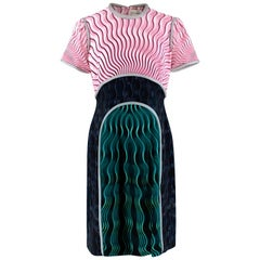 Mary Kantrantzou Pink Black & Green Wave Print Piped Dress - Size US 10