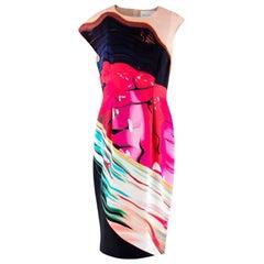 Mary Katrantzou Abstract Print Silk Asymmetrical Shoulder Dress - Size US 10