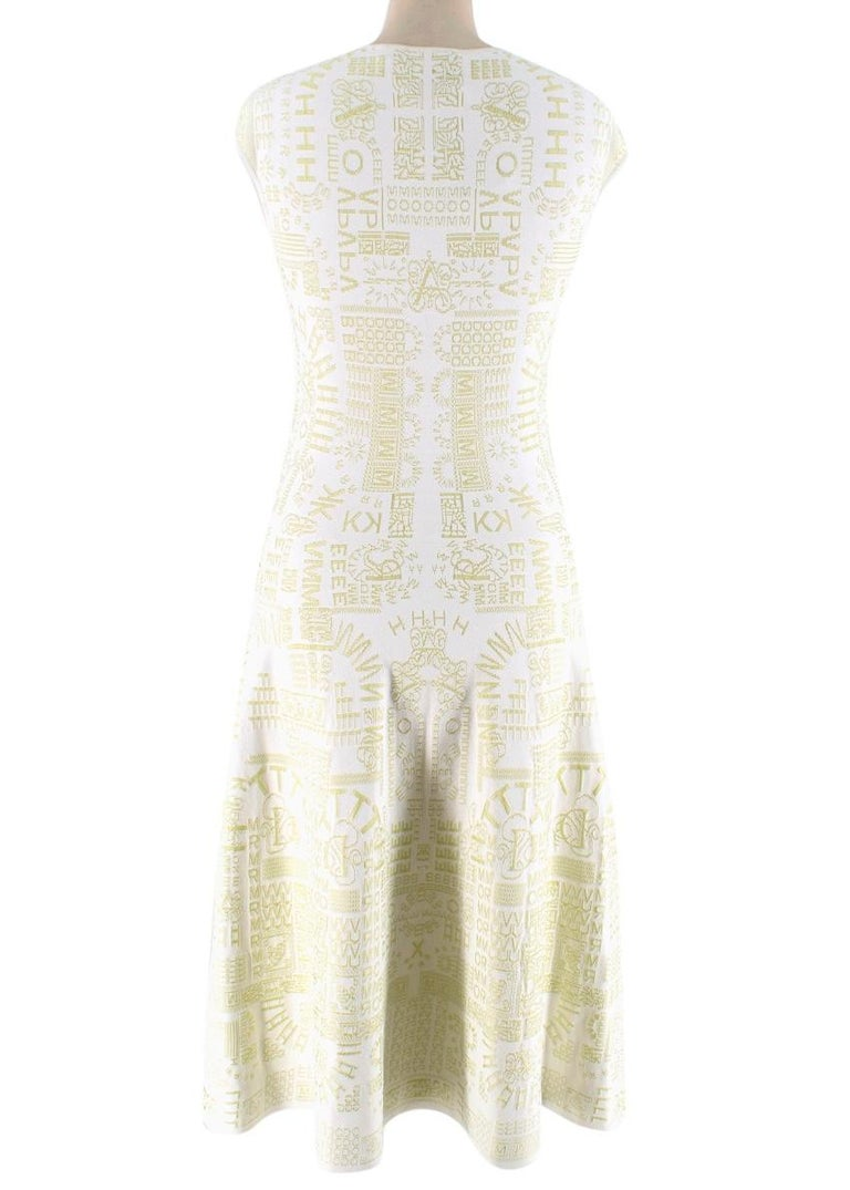 Beige Mary Katrantzou Alphabet Babel Dress In Pastel Green S For Sale