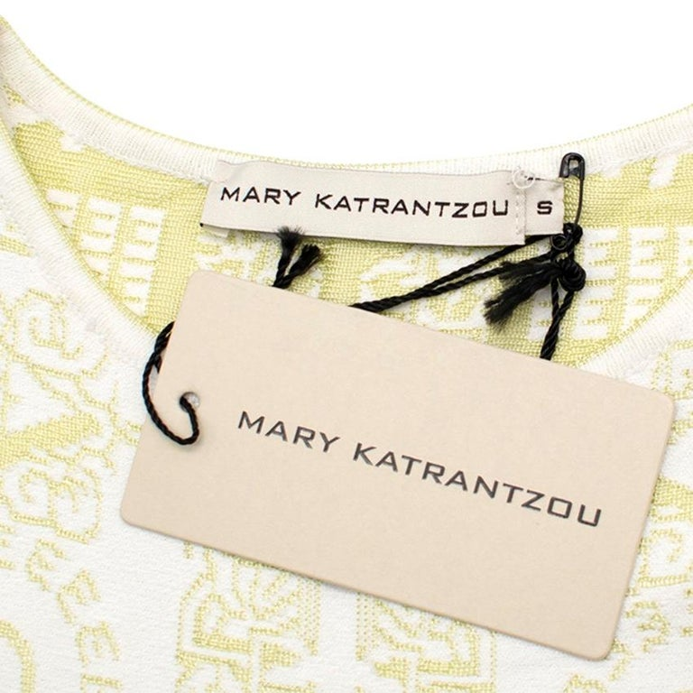 Mary Katrantzou Alphabet Babel Dress In Pastel Green S In Excellent Condition For Sale In London, GB