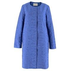 Mary Katrantzou Blue Brocade Twill Coat estimated size S-M