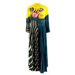 Mary Katrantzou Carni Tulip Pleated Maxi Dress L UK14