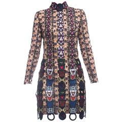 Mary Katrantzou Fall 2014 Navy and Gold Pincop Guipure Lace Dress - 2