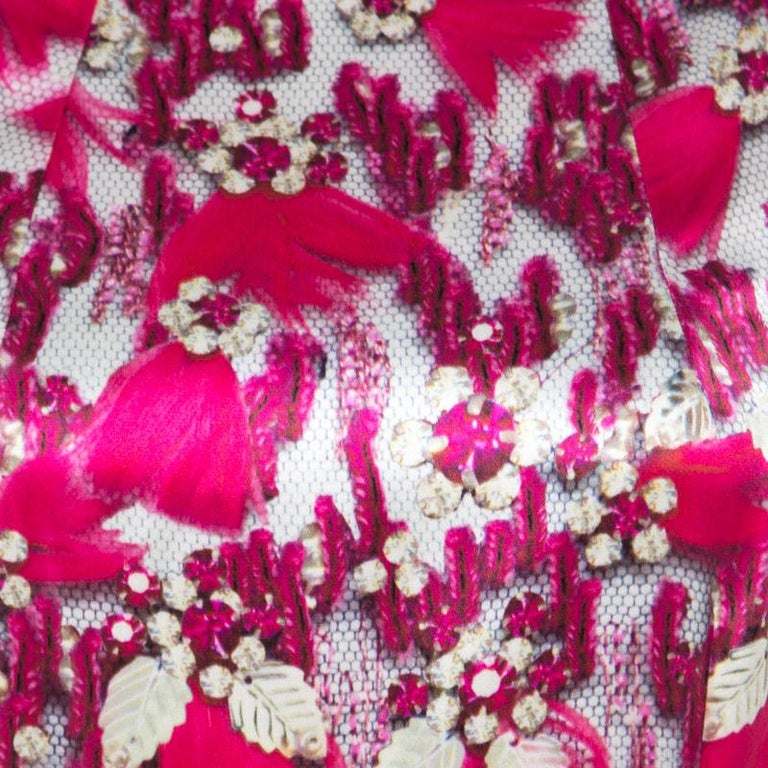 Women's Mary Katrantzou Fuchsia Pink Bejeweled Feather Printed Silk Satin Evening Gown M For Sale
