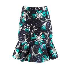 Mary Katrantzou Genero flared jewel-print satin skirt UK 10