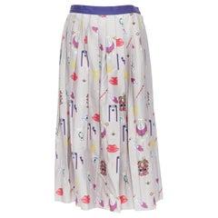 "MARY KATRANTZOU grey mixed illustration print pleated midi flared skirt UK10 27"""