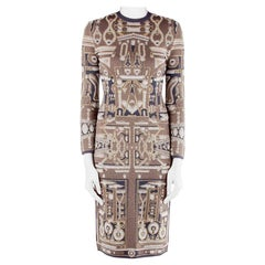 Mary Katrantzou Metallic Gold and Navy Blue Jacquard Knit Midi Dress XS