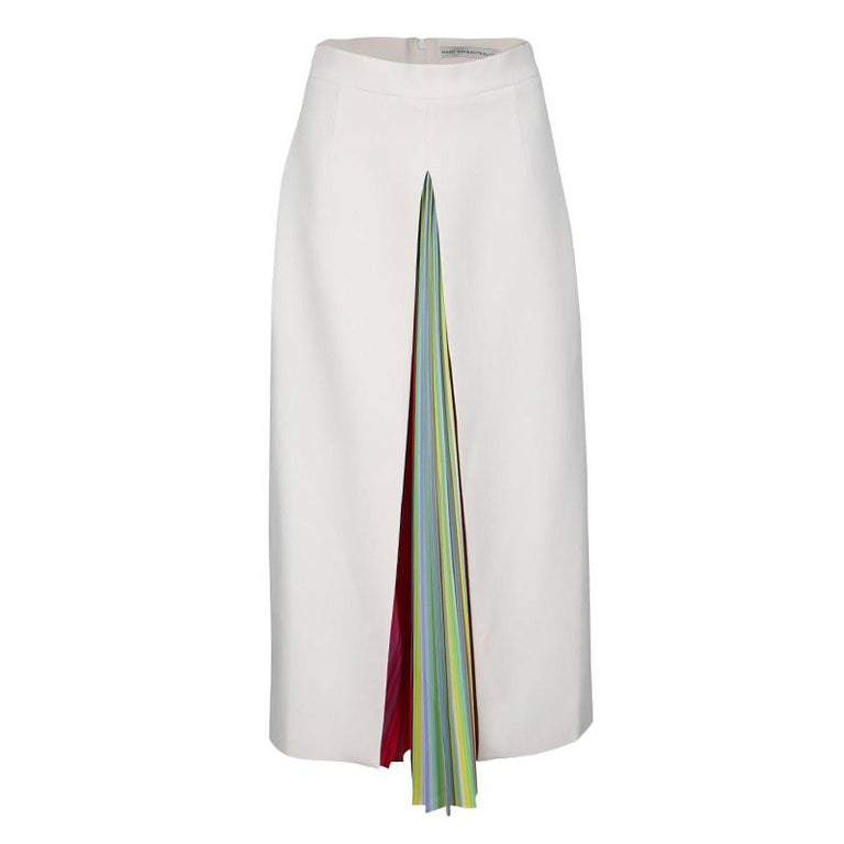 bf2a0c975844 Mary Katrantzou Multicolor Rainbow Striped Plisse Pleat Detail Rugo Midi  Skirt M For Sale