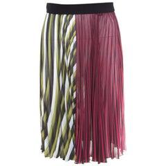 Mary Katrantzou Multicolor Striped Plisse Techno Skirt M