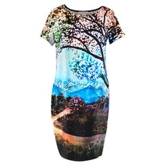 Mary Katrantzou Multicolour Nature Print Silk Shift Dress 8 UK