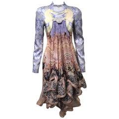 Mary Katrantzou Peony Porcelain Horse Print Dress, Chiffon Drape, size 6