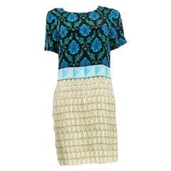 MARY KATRANTZOU Print on Print Short Sleeve Tunic Dress 10 M