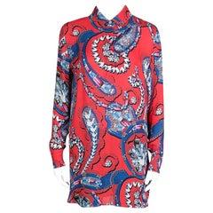 Mary Katrantzou Red Jewel Printed Silk Croft Tunic XS