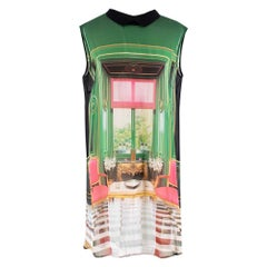 Mary Katrantzou Stamp Print Sheer Silk Dress 36 UK8