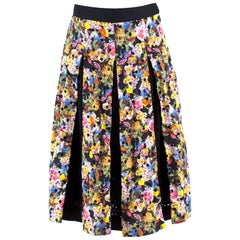 ae347b8a8 Mary Katrantzou Warley Floral Crochet Pleated Midi Skirt UK 10