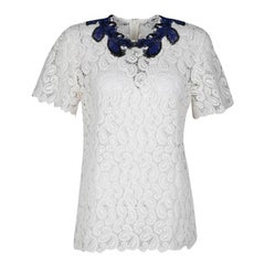 Mary Katrantzou White Paisley Guipure Lace Contrast Applique Birk Top M