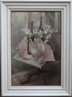 French Coffee Pot - British exh art 1960s floral still life oil painting flowers