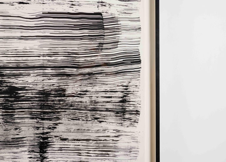 One of a series of three drawings executed by McDonnell in this monumental size. All were created by using a broom to brush ink across the paper. With broad gestures, an elegant composition, and her dark, limited palette, she has created a work of