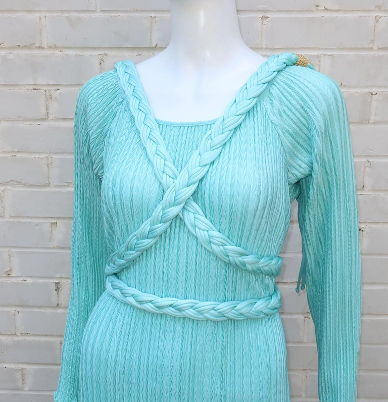 Mary McFadden Aqua Goddess Dress For Sale 6