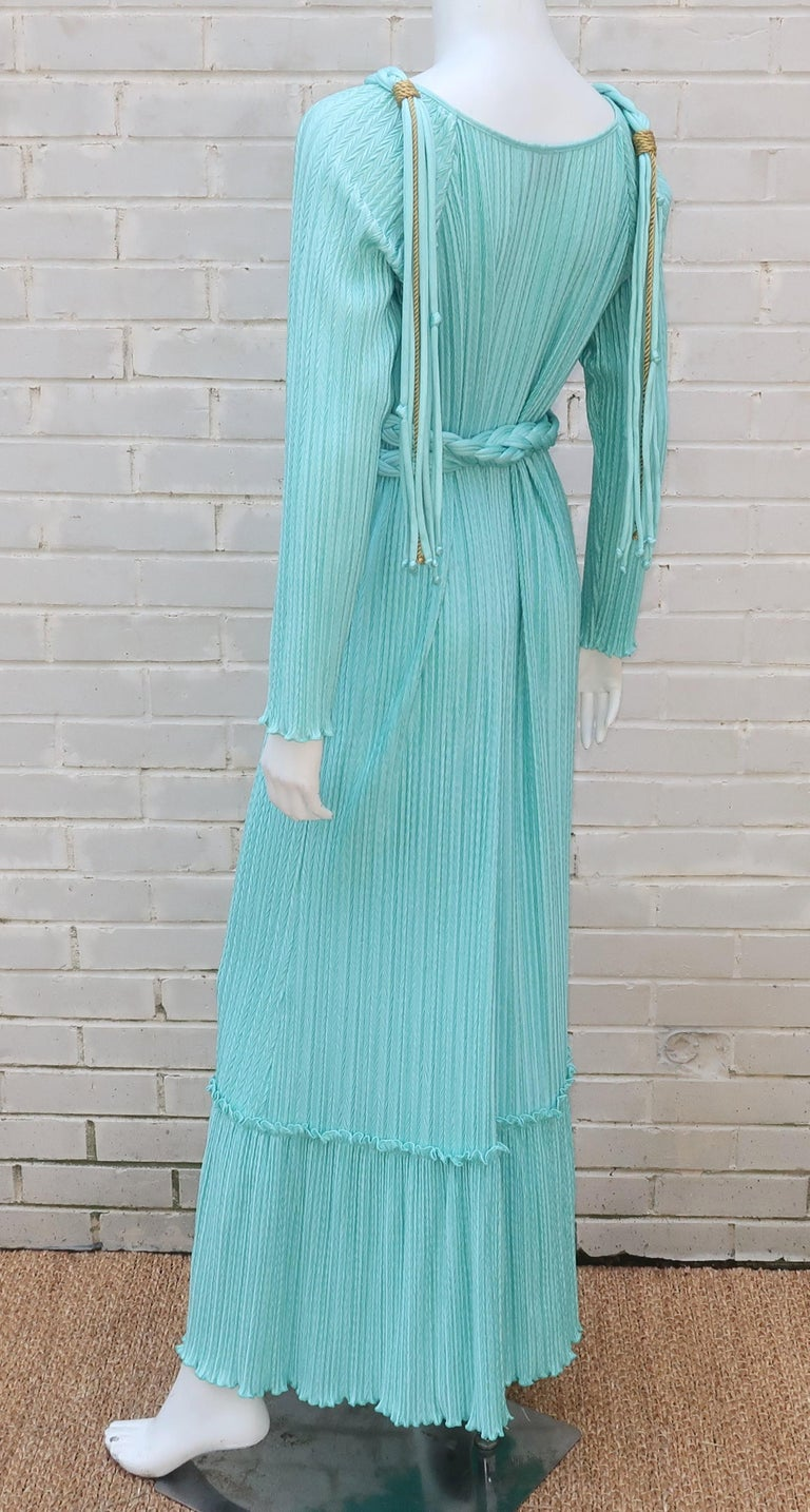 Mary McFadden Aqua Goddess Dress For Sale 7