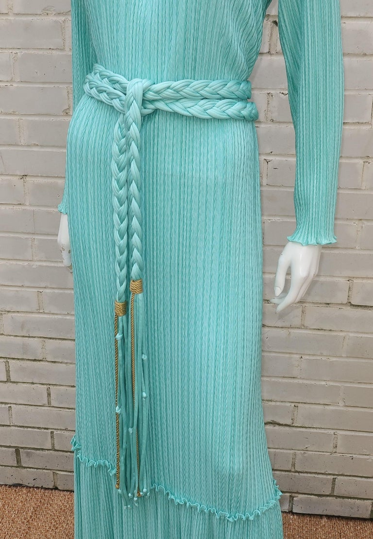 Mary McFadden Aqua Goddess Dress In Good Condition For Sale In Atlanta, GA