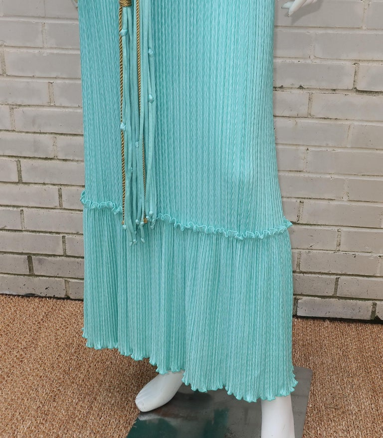 Women's Mary McFadden Aqua Goddess Dress For Sale