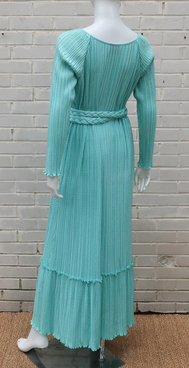 Mary McFadden Aqua Goddess Dress For Sale 1
