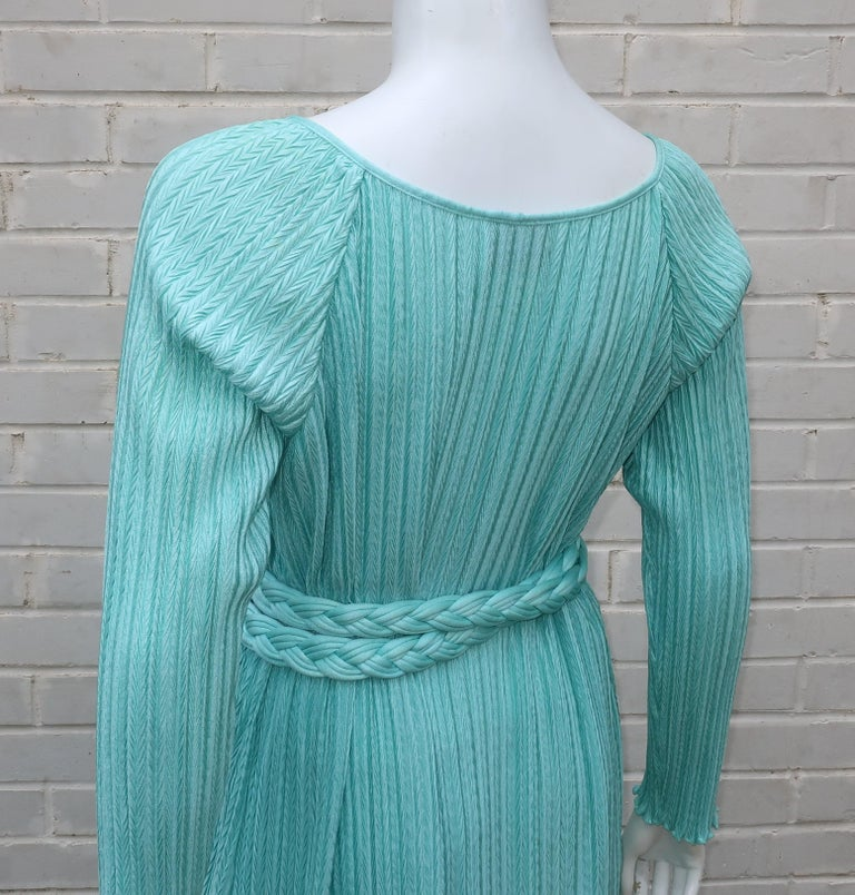 Mary McFadden Aqua Goddess Dress For Sale 2