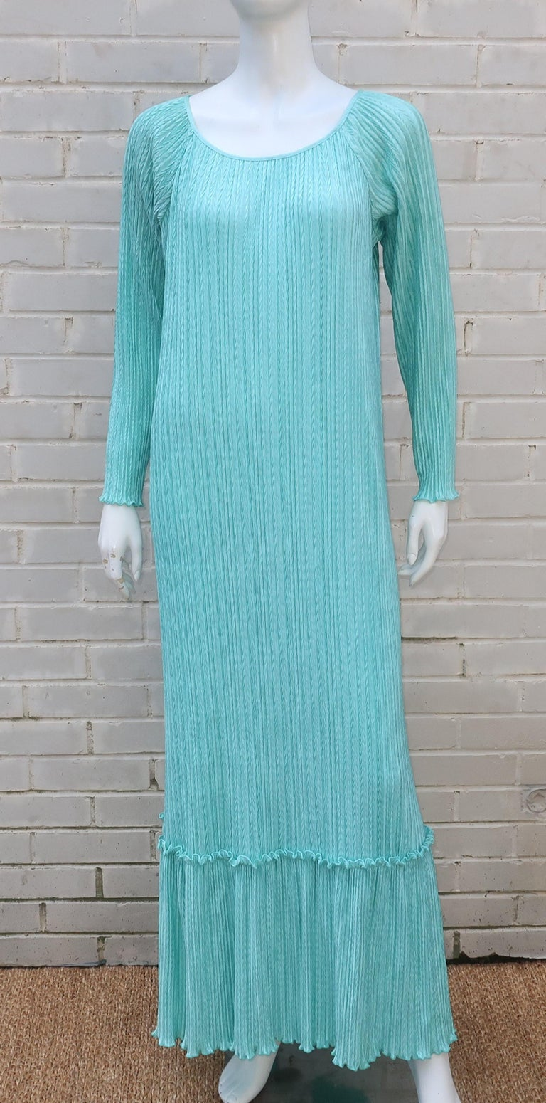 Mary McFadden Aqua Goddess Dress For Sale 3