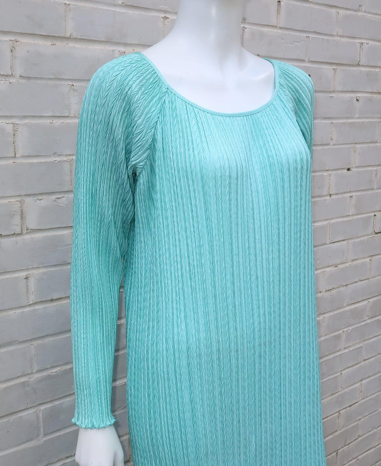 Mary McFadden Aqua Goddess Dress For Sale 4