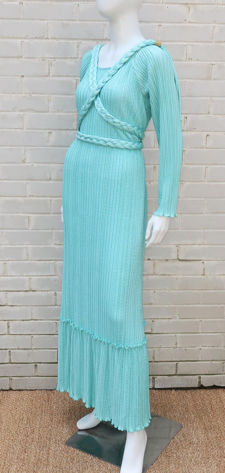 Mary McFadden Aqua Goddess Dress For Sale 5