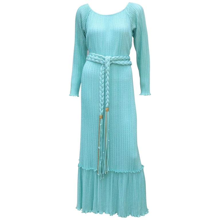 Mary McFadden Aqua Goddess Dress For Sale