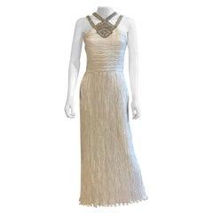 Mary McFadden Beaded Plisse Criss Cross White Gown