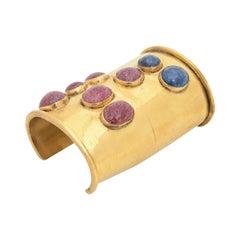 Mary McFadden Brass and Lapis Lazuli Cuff Bracelet Vintage