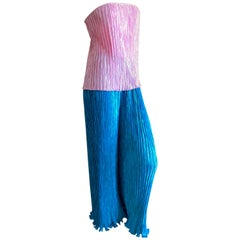 Mary McFadden Couture 1980's Two Piece Pleated Pants and Skirt/Top