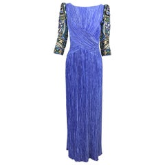 Mary McFadden Couture Art Beaded Pleated Evening Gown in Blue 1980s