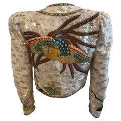 Mary McFadden Couture Embellished & Embroidered Puff Sleeve Bolero