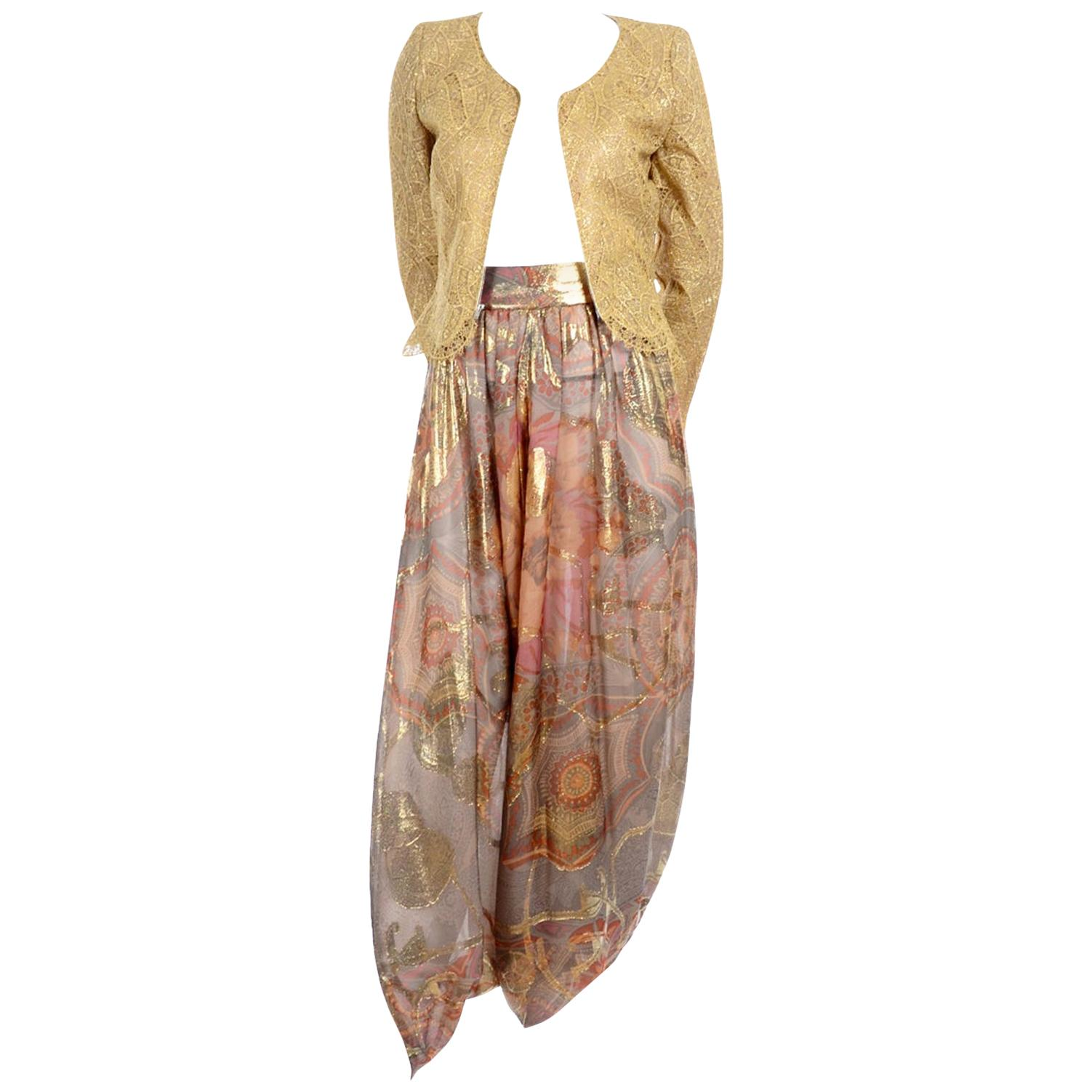Mary McFadden Couture Evening Gold Lame Print Harem Pants & Gold Lace Zip Top