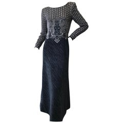 Mary McFadden Couture Goth Black Embellished Evening Dress for Neiman Marcus