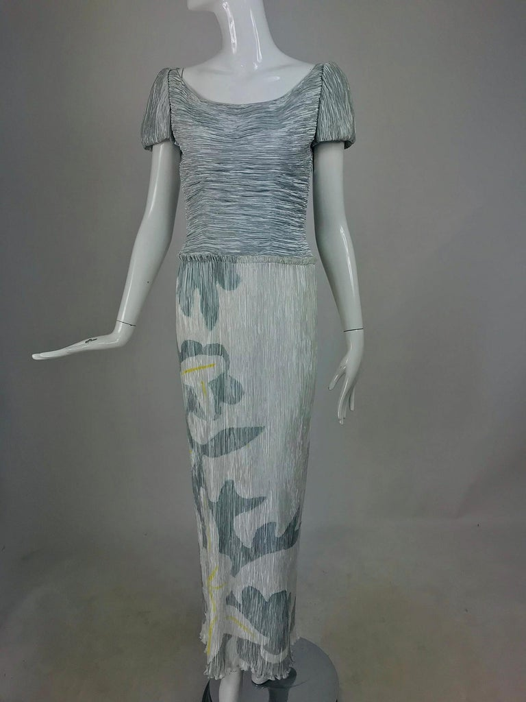 Mary McFadden Couture Pleated and Painted Evening gown For Sale 5