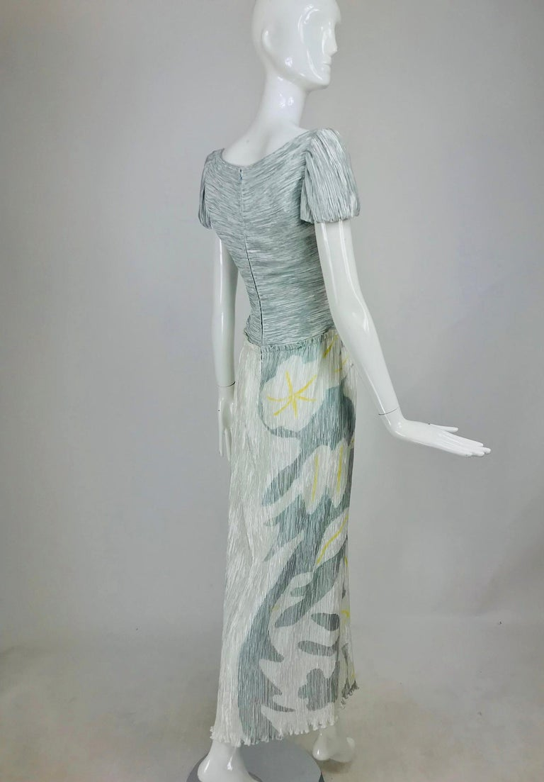 Gray Mary McFadden Couture Pleated and Painted Evening gown For Sale