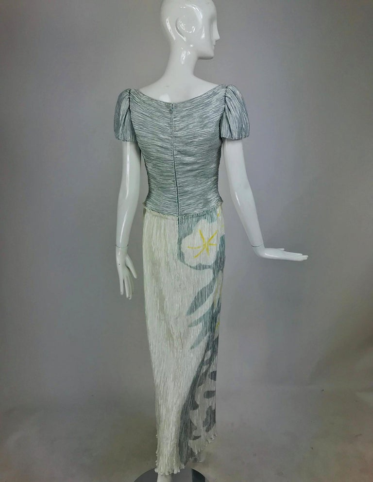 Mary McFadden Couture Pleated and Painted Evening gown In Good Condition For Sale In West Palm Beach, FL