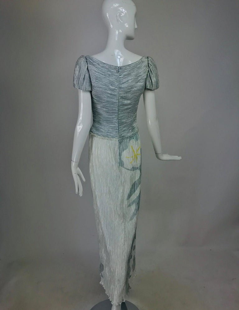 Women's Mary McFadden Couture Pleated and Painted Evening gown For Sale