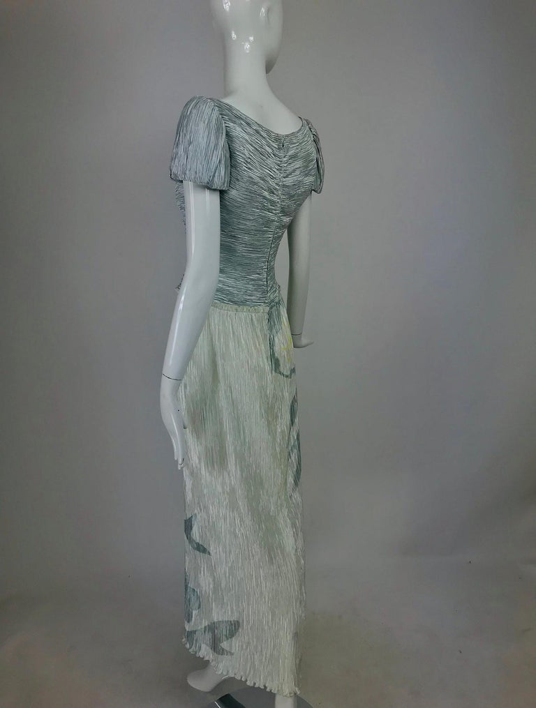 Mary McFadden Couture Pleated and Painted Evening gown For Sale 1