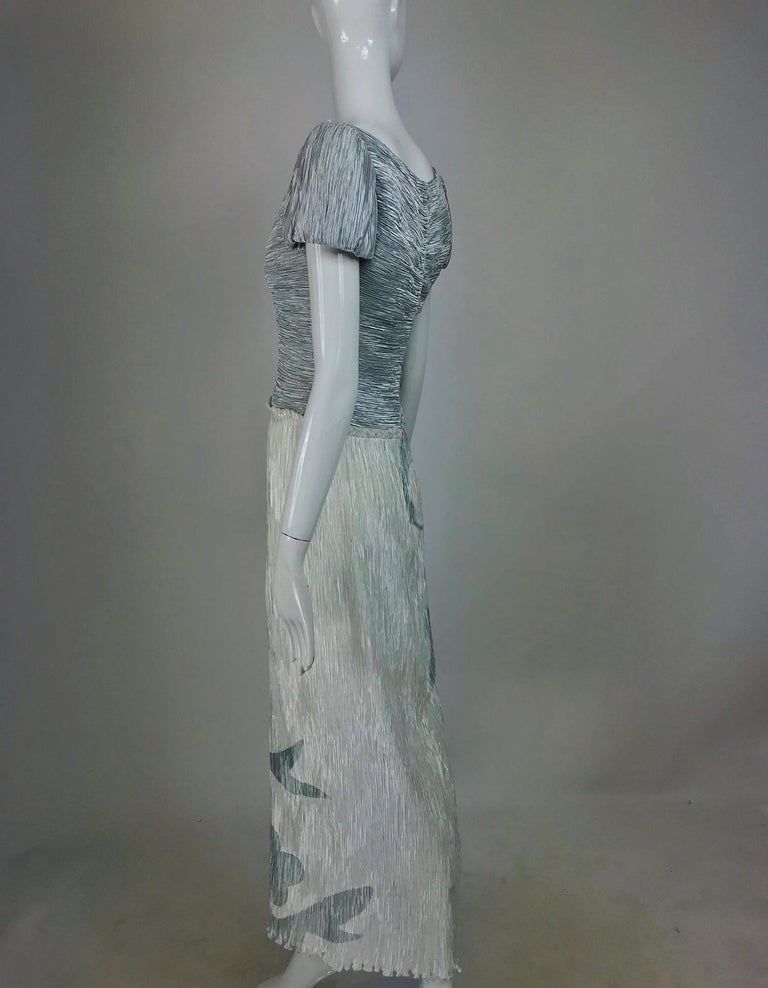 Mary McFadden Couture Pleated and Painted Evening gown For Sale 2