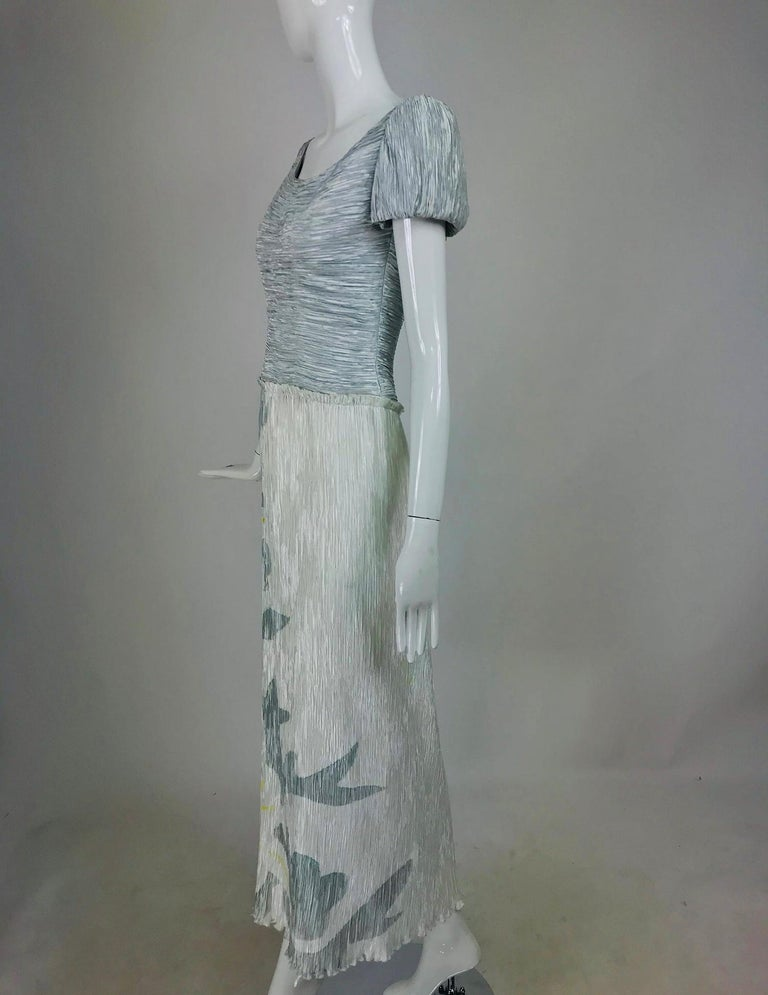 Mary McFadden Couture Pleated and Painted Evening gown For Sale 3
