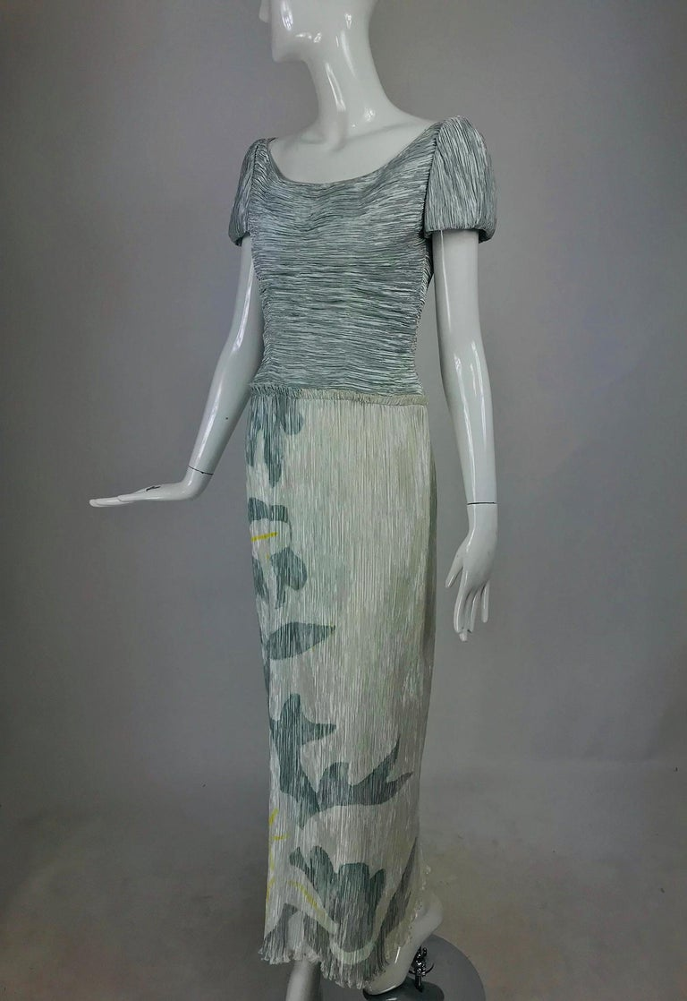 Mary McFadden Couture Pleated and Painted Evening gown For Sale 4