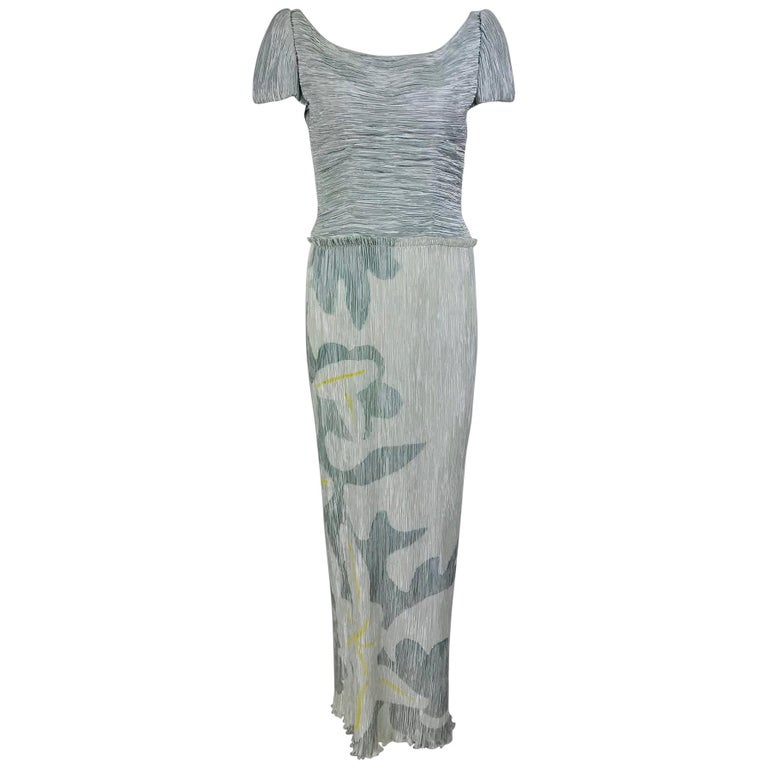 Mary McFadden Couture Pleated and Painted Evening gown For Sale