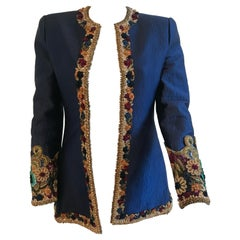 Mary McFadden Couture Royal Blue Embroidered Quilted Flower Appliqué Jacket