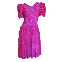 Mary McFadden Couture Silk Dress 1980s